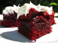 A fun brownie twist for Christmas: Red Velvet Brownies w/ White Chocolate icing