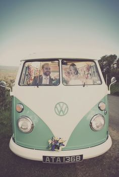 Wedding Cars- Pastel Green and cream vintage VW campervan. I want this!