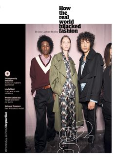 Guardian g2 cover: How the real world hijacked fashion. #editorialdesign #newspaperdesign #graphicdesign #design #theguardian