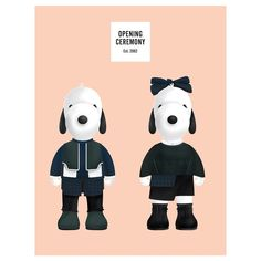 The beloved cartoon pup Snoopy and his sister Belle slip into dapper duds from fashion's leading voices.