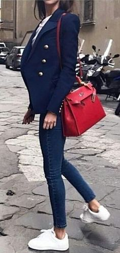 #jeans #outfits blue peaked lapel blazer and blue skinny jeans, pop of red.