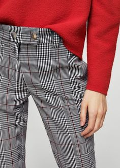 Check crop trousers - Women | MANGO USA