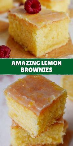 EASY LEMON BROWNIES Lemon Dessert Recipes, Easy Desserts, Sweet Recipes, Baking Recipes, Cookie Recipes, Easy Brownie Recipes, Lemon Recipes Easy, Easy Dessert Bars, Bar Recipes