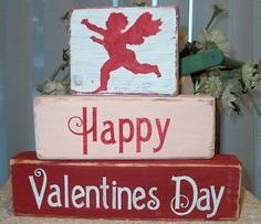 Primitive Valentine Shelf Blocks Happy Valentine's Day Cupid Wooden Blocks Sign