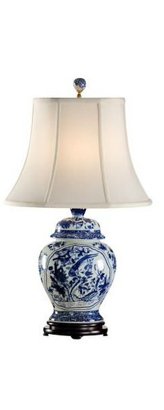 English Floral Hand-Painted Porcelain Ginger Jar Table Lamp ...