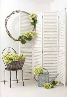 oh my goodness, I have these...sanded them down yesterday and plan to paint white! love the way they look against the green hydrangeas