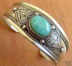 Unusual tibet silver turquoise men's cuff bracelet for sale online Bracelet Turquoise, Turquoise Cuff, Fashion Bracelets, Bangle Bracelets, Bangles, Moonstone Jewelry, Silver Cuff, Ebay, Jewellery