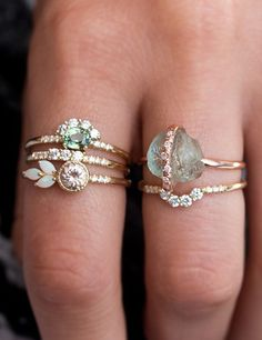 Pastel gems//stacked rings