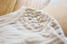 DIY: J.crew sequin inspired tee. All you need is fabric glue, sequins and a shirt that needs some sass!