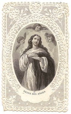 Virgin Mary Queen of Angels Antique French Paper by 12StarsVintage