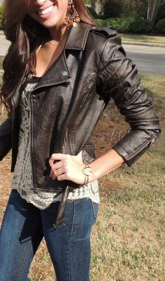 lace top, leather jacket, gold heart bracelet <3