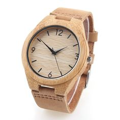 Bamboo Wooden Watch Crazy Horse Leather Strap Japanese Quartz Movement Accurate Natural Eco-friendly Wristwatch Both for Men and Women. ❤Unique and eco-friendly---Different from most metal watch on the market, the watch is made of bamboo, closely follow the trend of environmental protection.You can also convey your idea of environmental protection to the people around. ❤High quality---High-end Crazy Horse leather can make sure that the strap is tough enough to withstand the test of time....