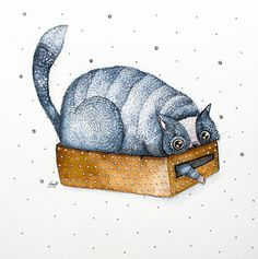 My Watercolor And Ink Paintings Of Quirky Cats | Bored Panda