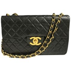 Pre-owned Chanel Vintage Quilted Jumbo Flap Lambskin Shoulder Bag ($3,600) ❤ liked on Polyvore featuring bags, handbags, shoulder bags, black, pre owned handbags, chain purse, flap bags, long shoulder bags and flap shoulder bag