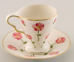 White w Gold Trim and Pink Floral Teacup & Saucer.