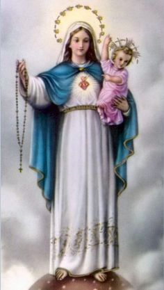 """7 Our Lady of the Rosary """"If you do not know how to pray, ask Jesus to teach you, and ask your heavenly Mother to pray with you and for you… The prayer of the Rosary can help you to learn the art of prayer with the simplicity and depth of Mary. Catholic Readings, Catholic Books, Catholic Art, Roman Catholic, Catholic Saints, Religious Pictures, Religious Icons, Religious Art, Religious Paintings"""