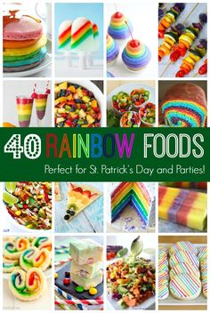 30 Sweet and Savory Rainbow Foods for St.taste the rainbow! 40 delicious recipes for sweet AND savory foods made with the colors of the rainbow. Perfect for St. Rainbow Dash Party, Rainbow Parties, Rainbow Birthday Party, Unicorn Birthday Parties, Rainbow Punch, Birthday Treats, 5th Birthday, Rainbow Treats, Rainbow Food