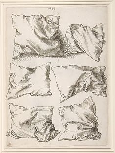 Albrecht Dürer studies with pillows 1493 esto no se si es un grabado me atajo por si acaso