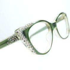 62d04c2a1c Pointy Green Rhinestone Cat Eye Glasses from thenovelty on Etsy Cute Glasses