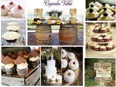 wine barrel cupcake table.
