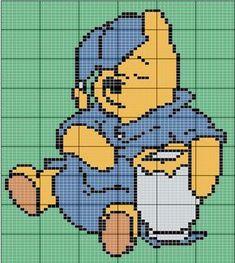 Winnie the Pooh Disney Cross Stitch Patterns, Cross Stitch For Kids, Cross Stitch Charts, Cross Stitch Designs, Pixel Crochet, Crochet Cross, Crochet Chart, Disney Stitch, Cross Stitching