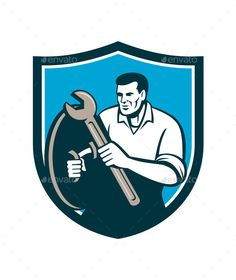 Mechanic Brandishing Spanner Wrench Shield Retro