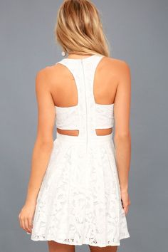 30942de759 Daisy Date White Lace Skater Dress