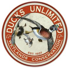 """Ducks Unlimited Dinner Plate 10½/"""" with Ducks in Flight on Center /& Rim Pre Owned"""