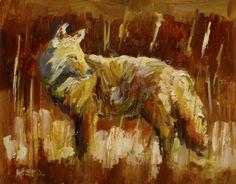 COYOTE ANIMAL ART OIL PAINTING Diane Whitehead Artoutwest daily painting -- Diane Whitehead
