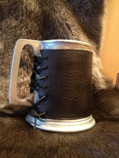 Pewter Tankard with Leather Mug Wrap by LykosLeathers on Etsy, $25.00