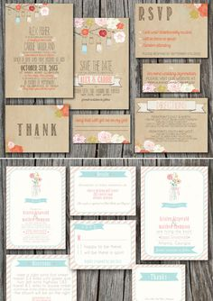 Printable Wedding Invitation Designs - like the brown design but on a lighter color paper