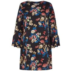 Butterfly and Flower Print Tunic (76 CAD) ❤ liked on Polyvore featuring tops, tunics, floral print tunic, flutter sleeve top, frill top, flower print top and sleeve top