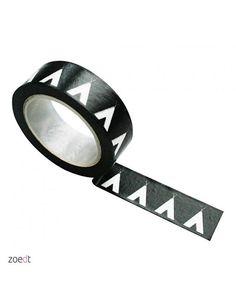 Masking tape zwart met witte tipi. Rol masking tape zwart met witte tipi's, 10 meter lang en 1,5 cm breed. washi teepee