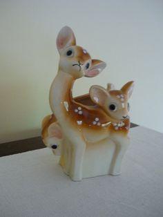 Vintage Ceramic Deer Planter, Natural, Woodland, Retro Home Decor on Etsy, $20.00