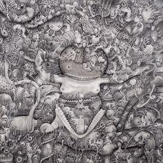 OBE (Out Of Body) | Graphite on canvas | Cm. 60x60x4,5 | 2012 | #Arte #Art #Mystic #Maya