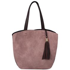 Sassysac 2in1 Tassel Tote, Blush ($40) ❤ liked on Polyvore featuring bags, handbags, tote bags, vegan leather handbags, faux leather handbags, red purse, vegan purses and tassel handbag
