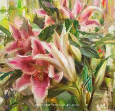 """""""Oriental Lilies"""" 12x12 oil ©Daniel J. Keys 2015 ©This image is under strict copyright to the artist and may not be reproduced in any form"""