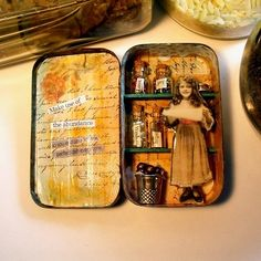 """Today we will be focusing on assemblage. The term """"assemblage"""" is credited to artist Jean Dubuffet and it refers t. Altered Tins, Altered Bottles, Altered Books, Altered Art, Mint Tins, Matchbox Art, Minis, Small Tins, Tin Art"""