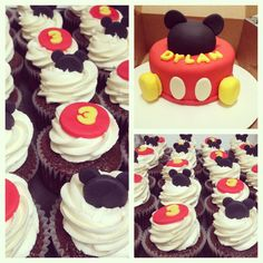 Mickey Mouse cake & cupcakes Mickey Mouse Birthday Theme, Mickey Mouse Parties, Mickey Party, Minnie Cake, Mickey Cakes, Mickey Mouse Cake, Thomas Cakes, 1st Birthday Parties, 2nd Birthday