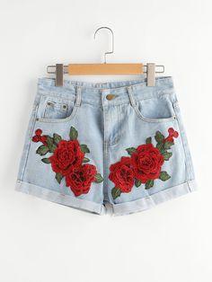 Shop Rose Embroidered Applique Cuffed Denim Shorts online. SheIn offers Rose Embroidered Applique Cuffed Denim Shorts & more to fit your fashionable needs.