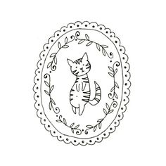 Cat Embroidery Pattern Kitty Digital by teenytinyhappythings, $3.00