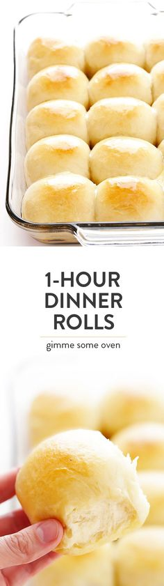 This 1-Hour Dinner Rolls recipe is the BEST! It\'s super-easy to make, and those soft and buttery rolls are irresistibly delicious! | gimmesomeoven.com