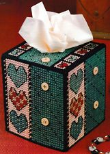 ~ ~PLASTIC CANVAS **  PATTERN ONLY ** ~ QUILTED HEARTS TISSUE BOX COVER ~ ~ ~