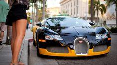 Black and Yellow Bugatti Veyron HD Wallpaper Background Image