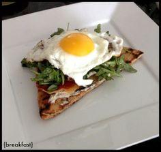 crispy breakfast pita - with naan bread, mascarpone, arugula, a fried egg.