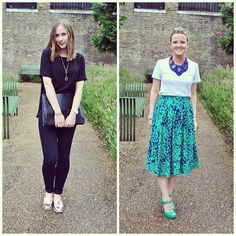 #pushwears with Becky and Victoria. Sleek all black look versus vibrant emerald and blue shades.