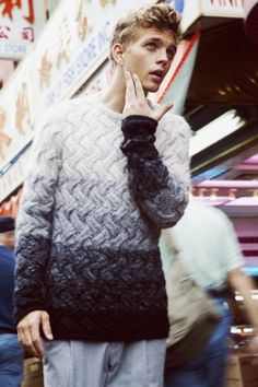 ombre basket stitch sweater