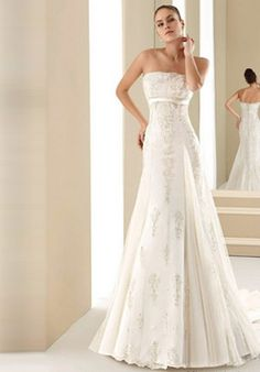 Empire Waist Strapless Chapel Train Lace Satin Wedding Dress (CED0260)