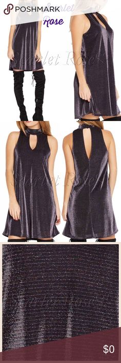 Purple Metallic Shift Dresses Purple Metallic Cut-Out Shift Dresses! This dress was too gorgeous not to get for my peeps. I fell in love with it as soon as I saw it. Modeled pics to coming soon. Pair this dress with some hose/leggings and boots (gray suede or black velvet boots for sale in my closet!), with a nice coat over it for those cold evenings, and you've got a fabulous outfit! Price is firm unless bundled. Happy Poshing, PFF's!  Scarlet Rose Boutique Dresses