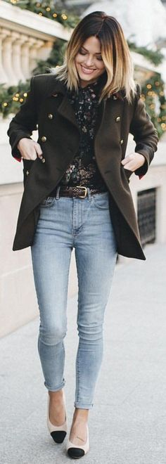 #winter #fashion / Black Coat / Bleached Skinny Jeans / Navy Lace Top